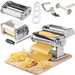 VonShef 3-in-1 Stainless Steel Pasta Maker with 3 Cut Press