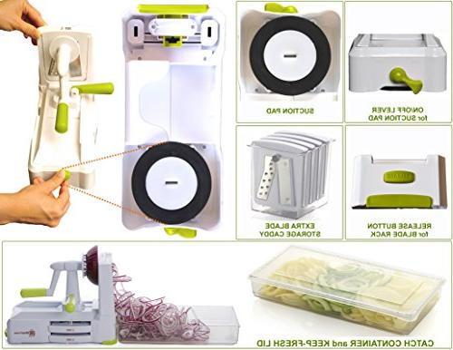 Brieftons Spiralizer: Strongest-and-Heaviest Best Veggie Spaghetti Maker for With Lid, Blade Caddy & 4 Ebooks