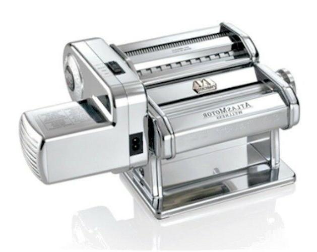 Atlas Electric Pasta Machine, Silver with Motor Set by Atlas