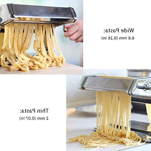 Pasta Machine, Adjustable Thickness Settings Maker, Roller Maker Washable Aluminum Alloy FDA Approved Spaghetti, Fettuccini,
