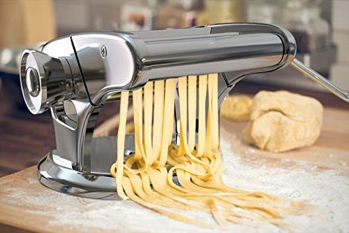 bonVIVO Steel Pasta Machine With Chrome Finish, Noodle Maker With Base, Manual Machine For The Of Homemade