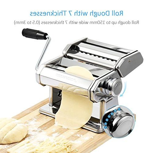 Alloyseed Stainless Homemade Machine with Adjustable Roller, Pasta Hand Crank