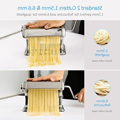 Alloyseed Stainless Steel Homemade Noodle Adjustable Roller, Cutter, Hand Crank