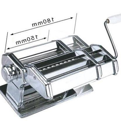 Ovente Stainless Steel Maker, Includes Hand Adjustable Double Pasta Cutter Attachment, 150mm, Vintage Dial,